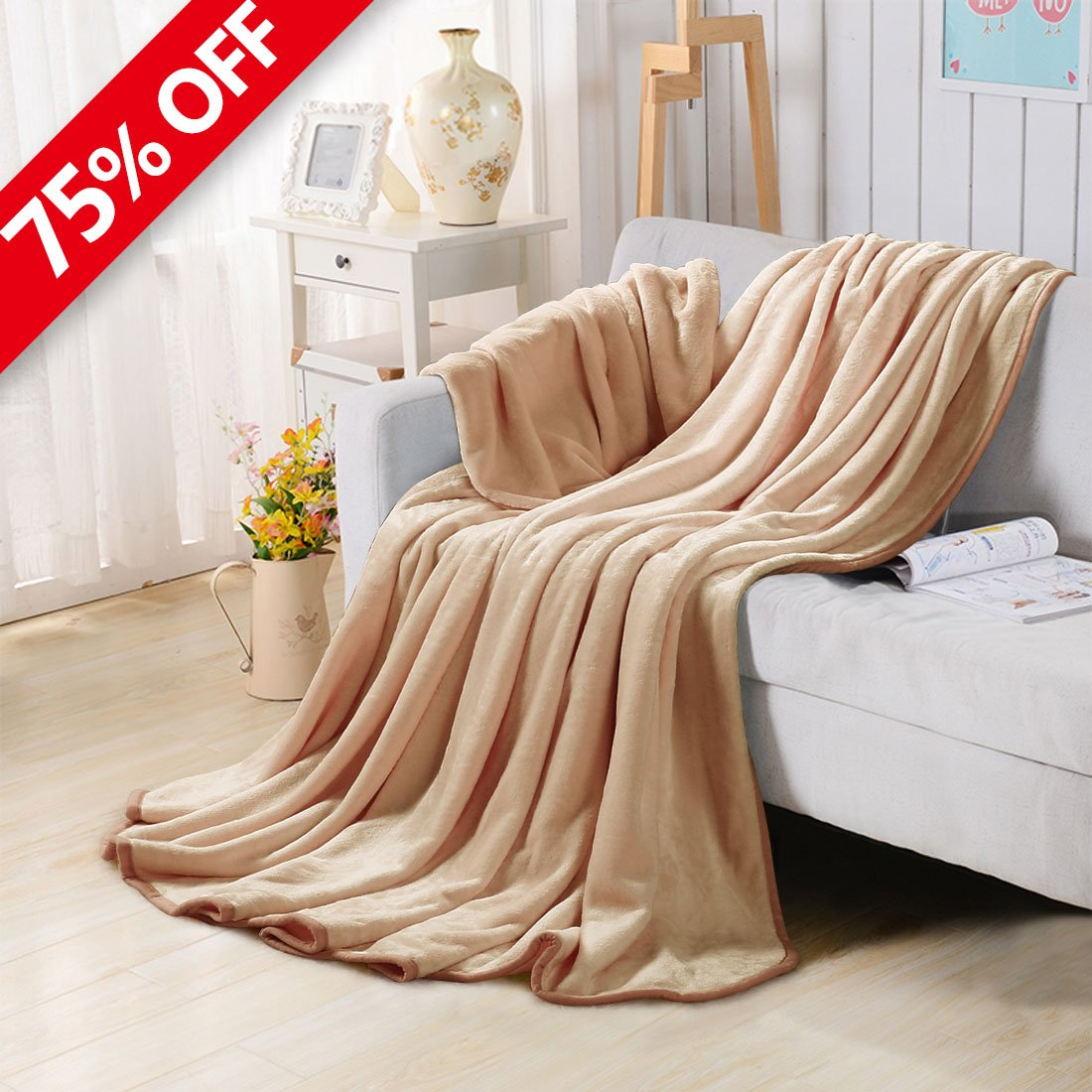 Fleece Blankets for The Bed Extra Soft Brush Fabric Super Warm Sofa Blanket (Throw-50X61inch,Khaki)