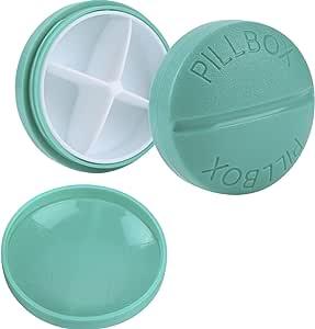 Pastillero Caja de Medicina Organizador de Pastillas de Plástico con 4 Compartimentos, 2 Piezas, Azul Claro
