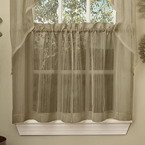 Fancy Harmony Mocha Micro Stripe Semi Sheer Kitchen Curtains Tier Or Valance Swag