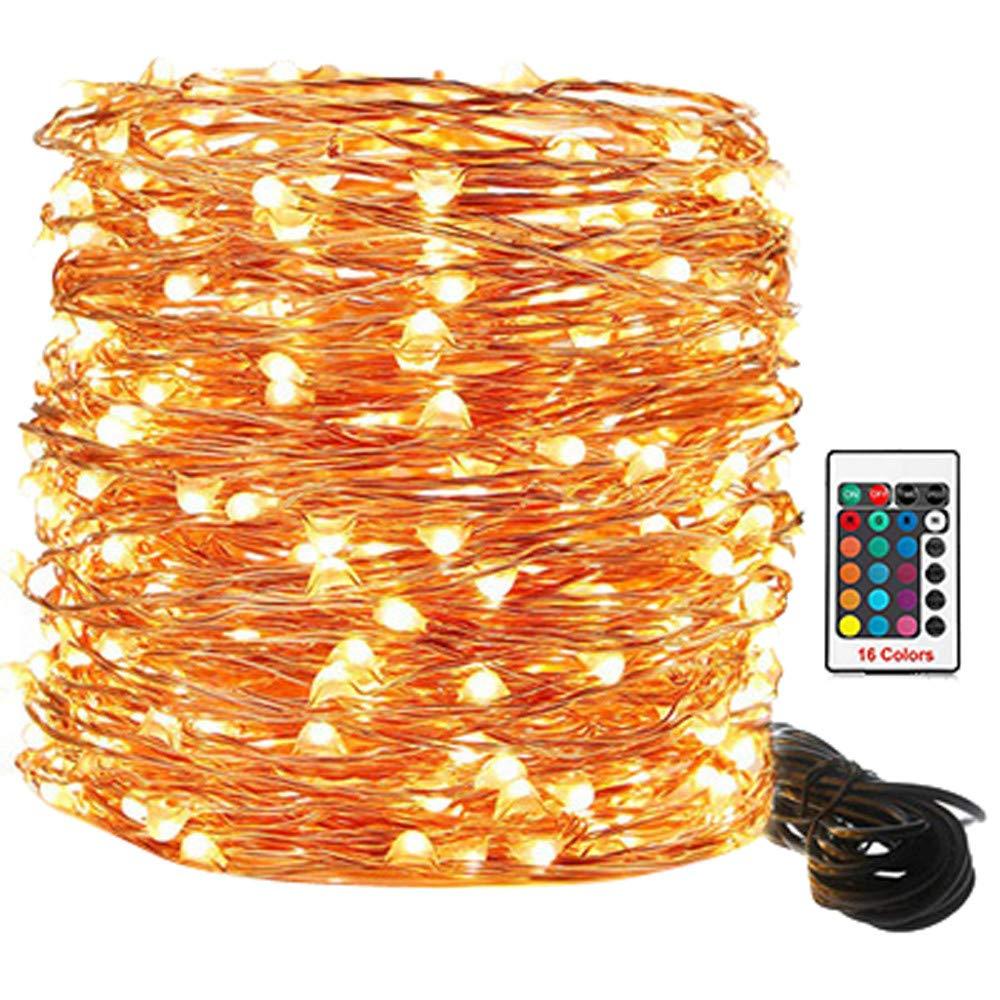 Halloween int/érieur//ext/érieur ou maison vert FeiliandaJJ Guirlande lumineuse 100 LED /étanche 16 couleurs T/él/écommande en cuivre pour mariage f/ête