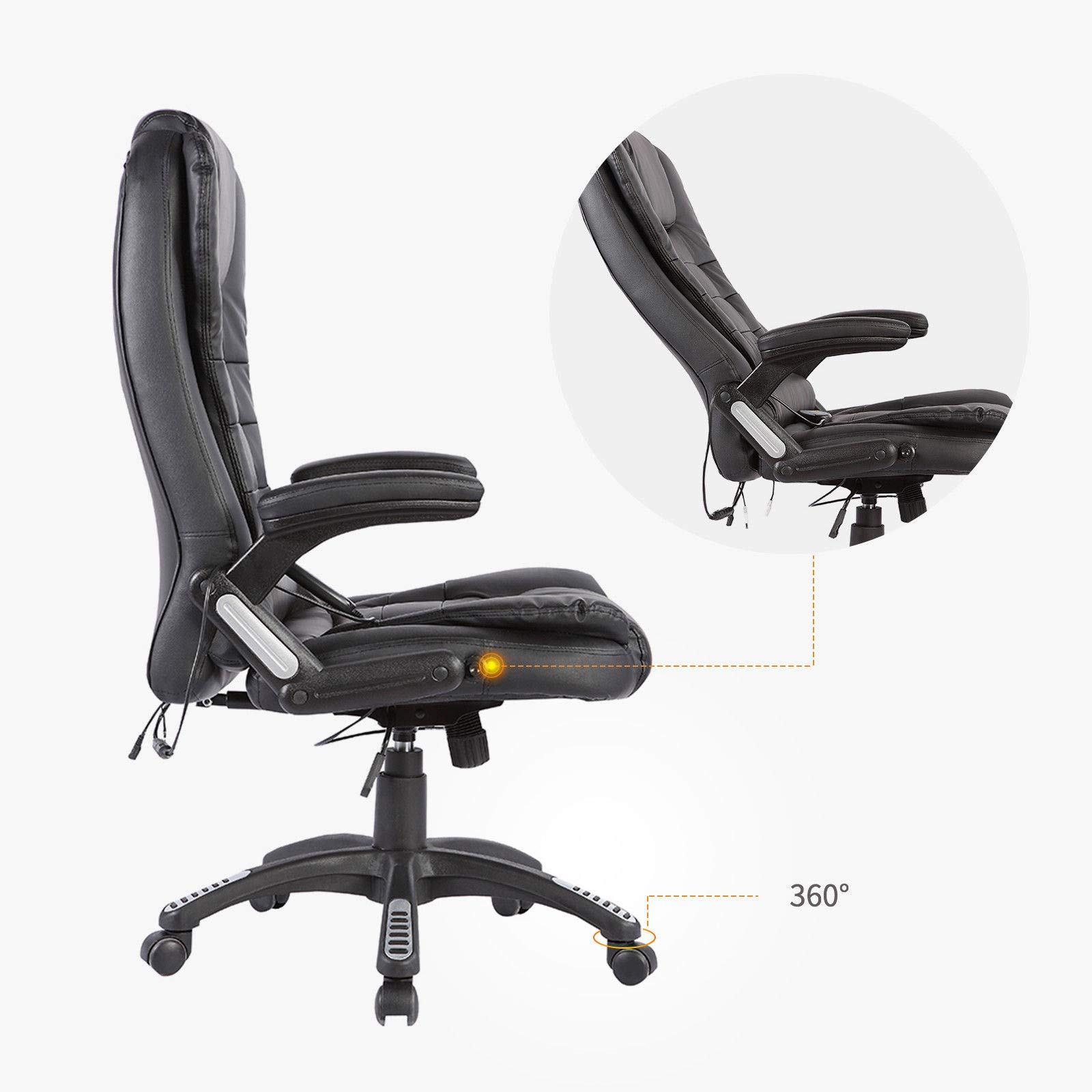 Black Massage Chair Office Swivel Executive Ergonomic Heated Vibrating Leather Chair, Remote Control 6-Point Massage, Adjustable Seat Height & Position by Taltintoo20 (Image #8)