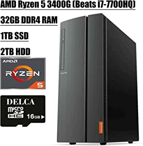 Lenovo IdeaCentre 510A Desktop 2020 Flagship I AMD Quad-Core Ryzen 5 3400G (> i7-7700HQ) I 32GB DDR4 1TB SSD + 2TB HDD I DVD HDMI USB 3.0 WiFi Wired Keyboard and Mouse + Delca 16GB Micro SD Card
