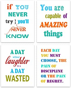 Inspirational Poster Motivational Wall Art - Colorful Creative Positive Quotes and Sayings Print Canvas Painting Inspiration Wall Art Bedroom Words Office Classroom Posters 4 piece 8''x10'' Unframed