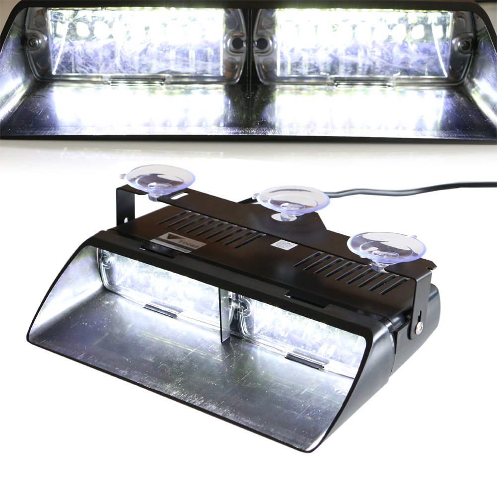 T Tocas (tm) ad alta intensità 16 Law Enforcement LED Emergenza Strobe Light Bar per auto camion Interni / Dash / parabrezza con Ventose, 18 Modalità flash (blu) 18 Modalità flash (blu) Lula L125-BL