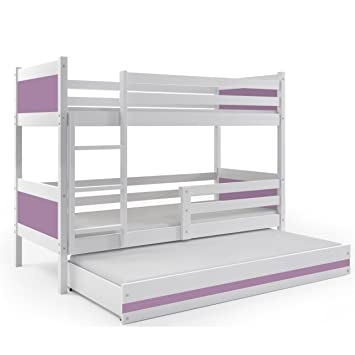 BMS Group LITERA Infantil Triple (3 Camas) 190x80, Color Blanco (LOS Paneles EN Varios Colores) (Violeta): Amazon.es: Hogar