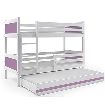 66e0852d4b849a Interbeds Lit superposé 3 Places RINO 190x80 Blanc + Couleurs MDF Les  sommiers Matelas (Violet