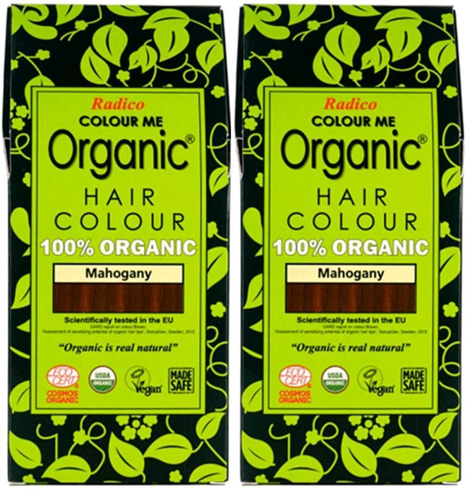 Radico Caoba 2 Pack (2 x 100 g) Coloración vegetal Colour Me Organic (orgánico, vegano, cosmética natural), caoba