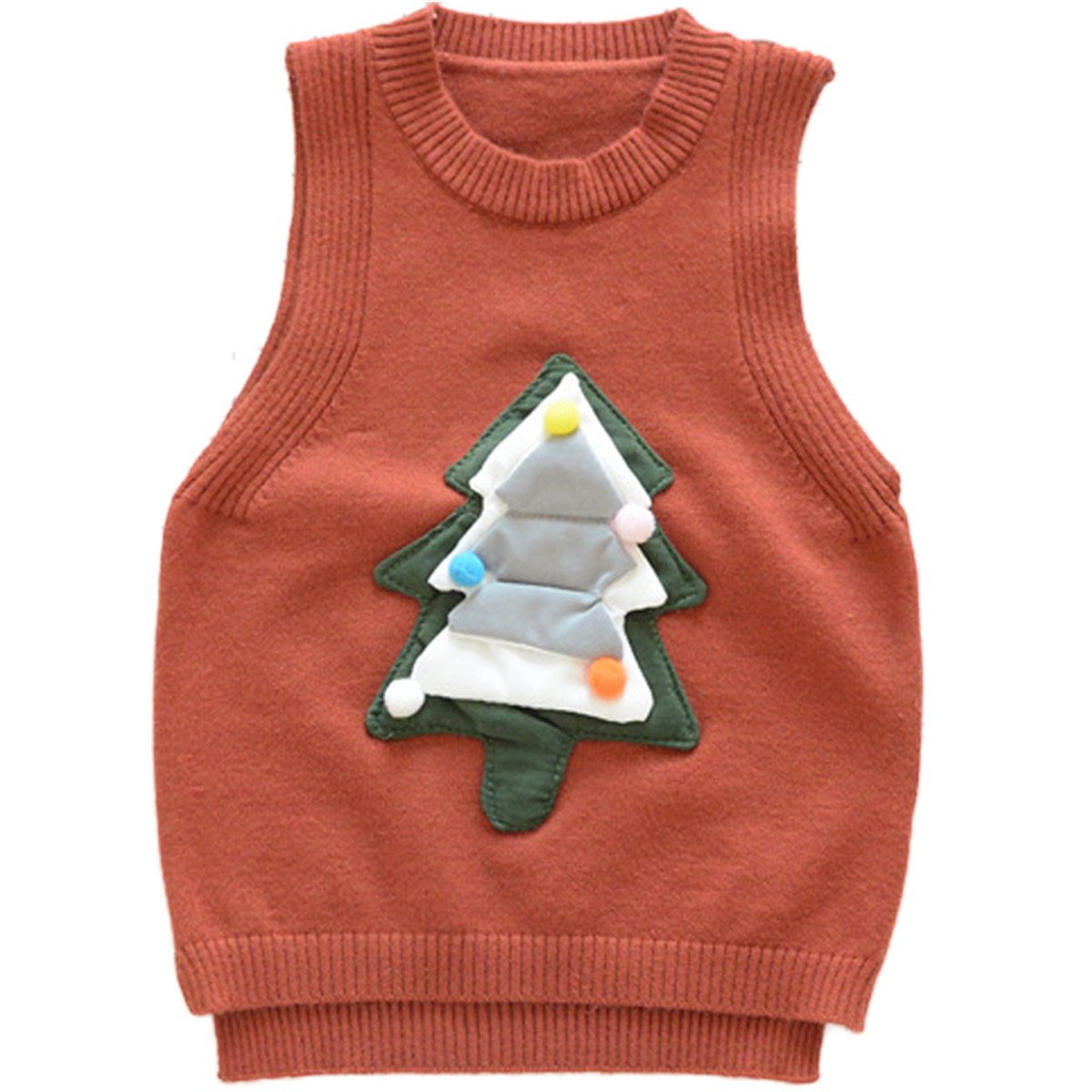 JELEUON Little Girls Sleeveless Knitchristmas Tree Pullover Round Neck Sweater Vest