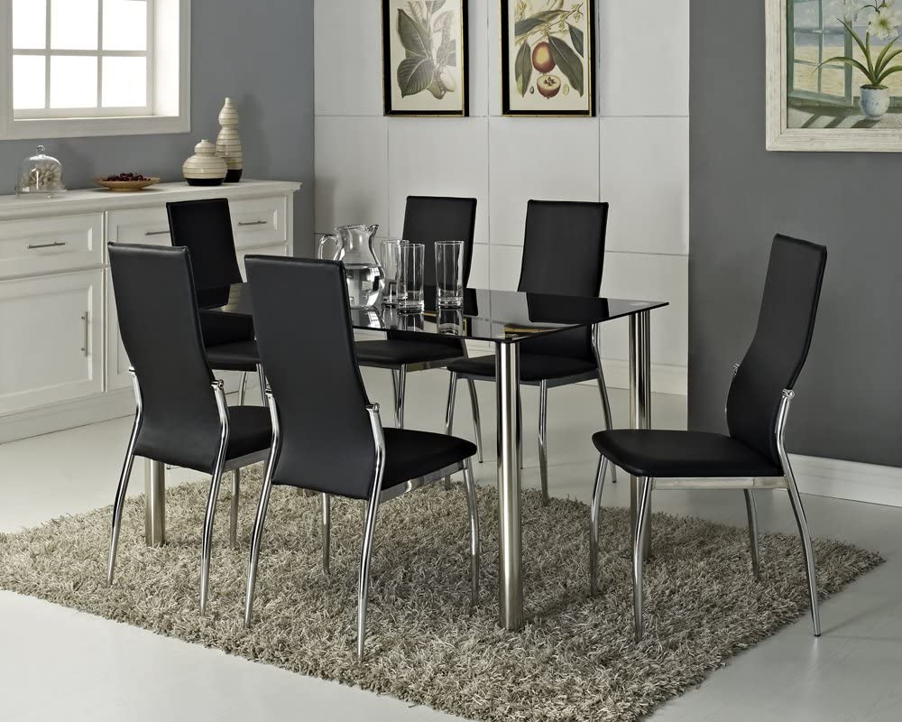 Black Glass Rectangle 6 Seater Dining Table Set With 6 Faux Leather Chairs Chrome Amazon Co Uk Kitchen Home