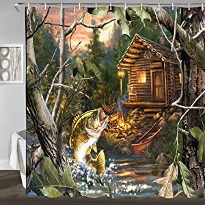 JAWO Farmhouse Cabin Shower Curtain, Bass Fish with Wooden Cabin in Forest Hunting Oil Painting, Polyester Fabric Bathroom Curtains Waterproof with 12 Pcs Hooks 69x70inches