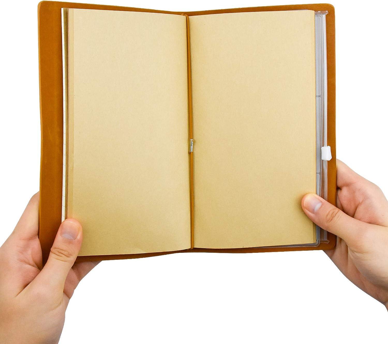 utilizzabile come blocco per schizzi diario di viaggio con pagine vuote Wandefol Diario di Viaggio in Pelle Marrone A6 idea regalo per donne e ragazze stile vintage