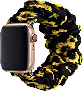 MITERV Compatible with Apple Watch Band 38mm 40mm Soft Floral Fabric Elastic Scrunchies iWatch Bands for Apple Watch Series 6,SE,5,4,3,2,1 38mm/40mm Sunflower S