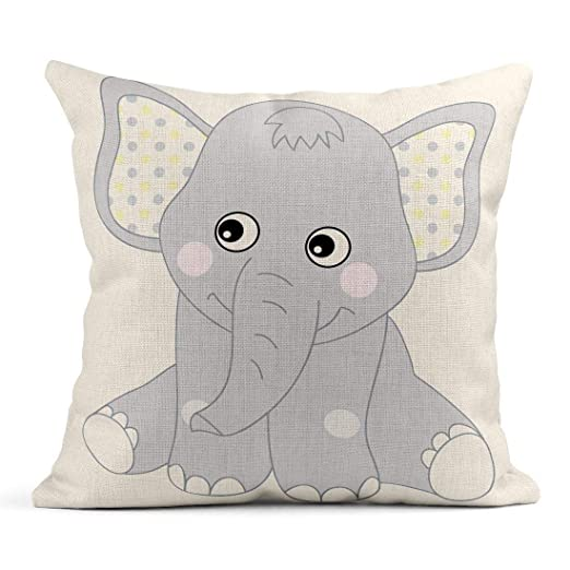 Cojín Gris vivero Lindo bebé Elefante Amarillo Animal ...