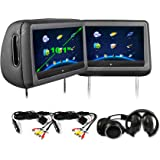 Elinz 2X 10.1 Black Headrest DVD Player HD Touch Screen Monitor 1024x600 SD USB HDMI 2X Headphones, 2X Car Chargers 32…