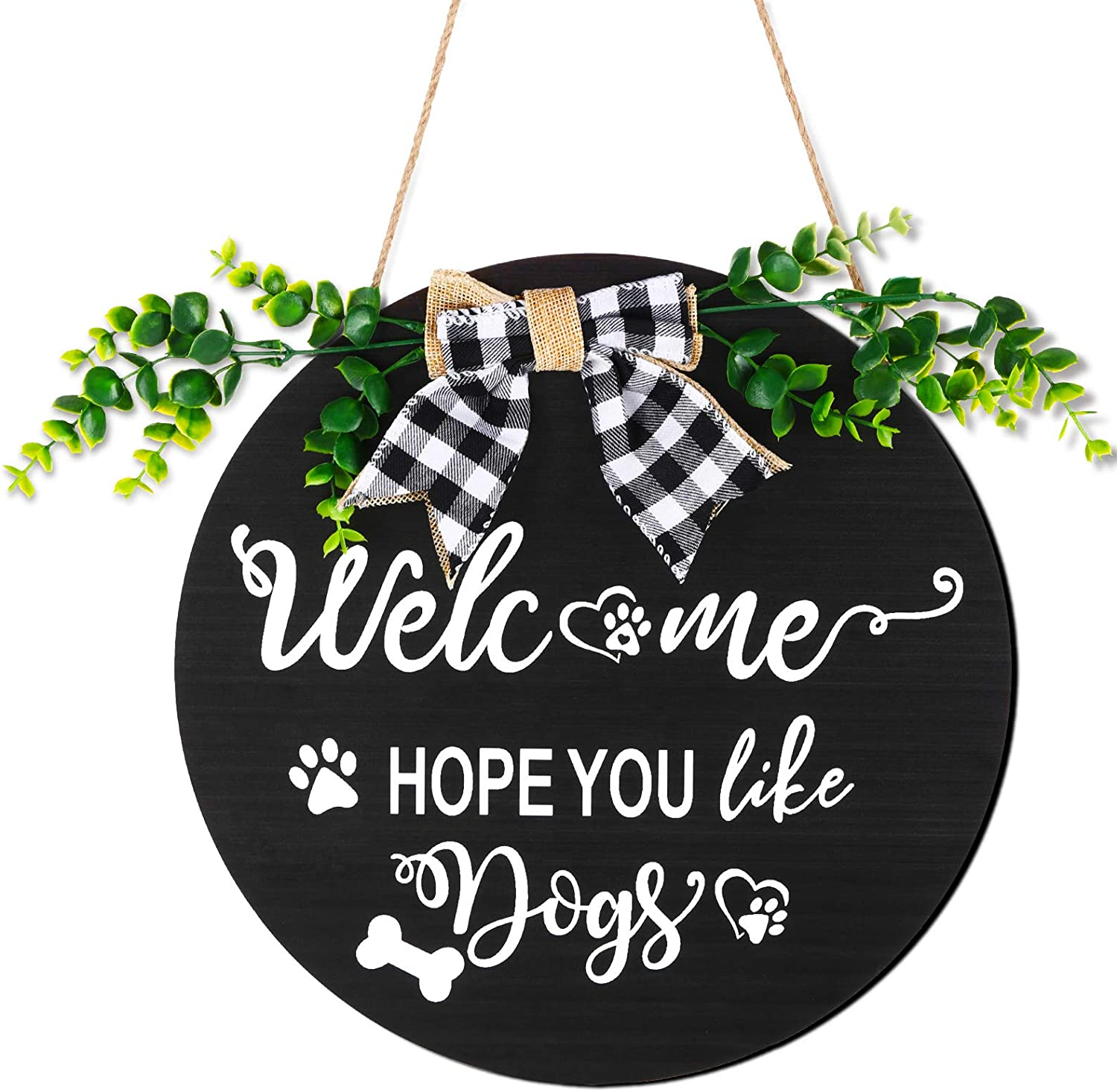 Jetec Dog Welcome Sign Hope You Like Dogs Wooden Sign with Greenery Paw Prints Bow Rustic Farmhouse Wall Hanging Wreath Sign for Front Door Home Outdoor Decorations (Black)