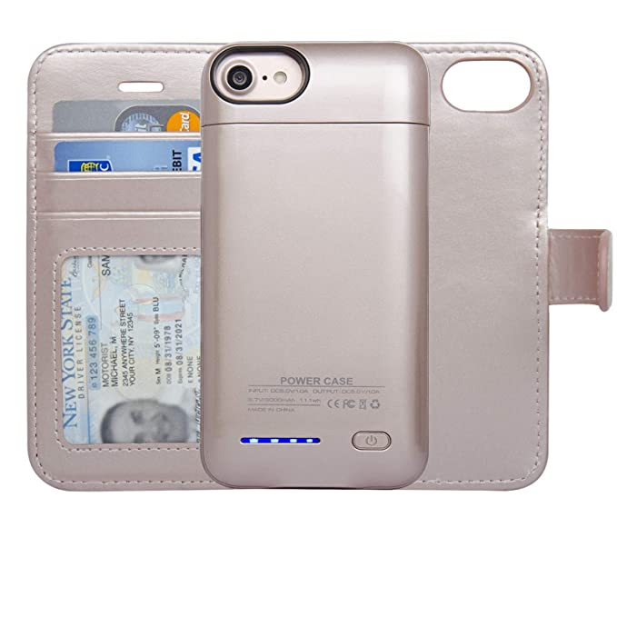 size 40 7d637 526fd navor RFID Folio Wallet Magnetic Detachable Power Battery Case 3000mAh  Compatible for iPhone 6/7 / 8 [4.7 Inch] - Rose Gold