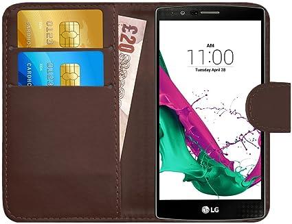 G-Shield Funda para LG G4, Carcasa de Cuero con Ranuras para Tarjetas, Marrón