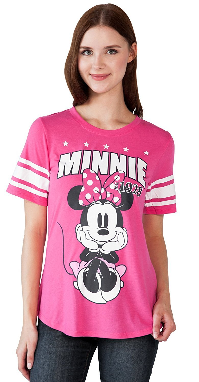Disney Adult Junior Fashion Football Tee Minnie Mouse 28 Pink (X-Large)