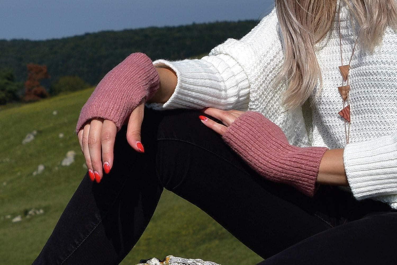 Fingerhandschuhe styleBREAKER Damen Touchscreen Stoff Handschuhe mit abnehmbaren Strick Stulpen Winter 09010022