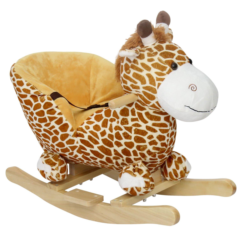 Peach Tree Kids Toy Plush Wooden Rocking Horse Baby Little Giraffe Theme Style Boy Riding Rocker with Sound for Children's Day Gift Rocking Horse Birthday Present, w/Seat belts