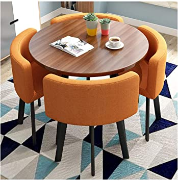 Amazon Com Modern Minimalist Tables And Chairs Home Living Room Kitchen Round Table Vintage Cotton Linen Lounge Chair Dining Table And Chair Combination 80cm1 Table And 4 Chairs Office Reception Leisure Table