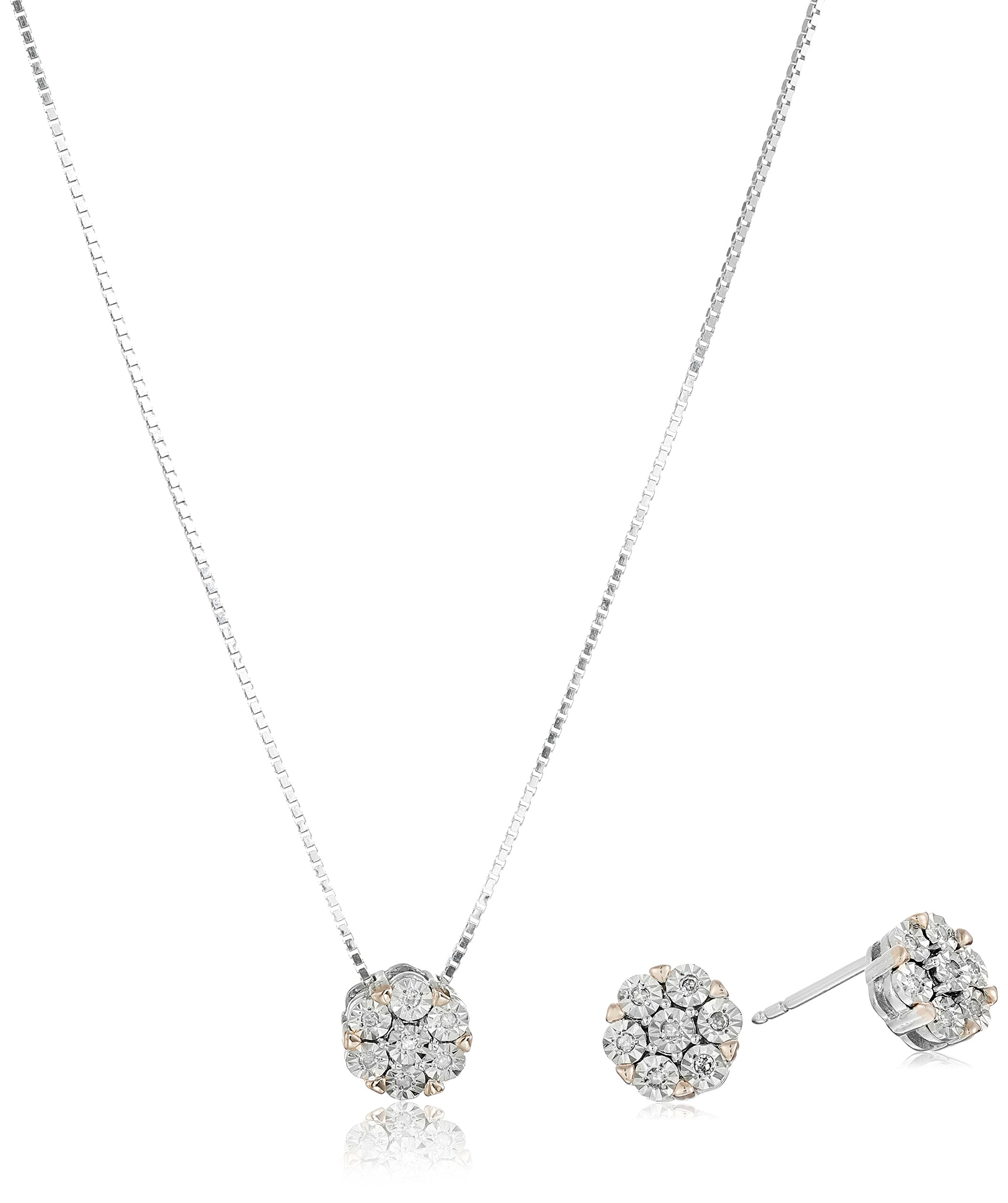 Sterling Silver with 18K Rose Gold Plated Prongs Diamond Cluster Earrings and Pendant Necklace Jewelry Set (1/10 cttw, I-J Color, I2-I3 Clarity)