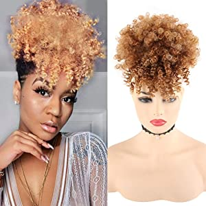 LEOSA Wig Afro Puff Drawstring Ponytail Bun with Bangs Heat Resistant Synthetic Short Kinky Curly Ponytail Updo Hair Extensions with Two Clips,Natural looking Curly Women Hairpieces (#4/630)
