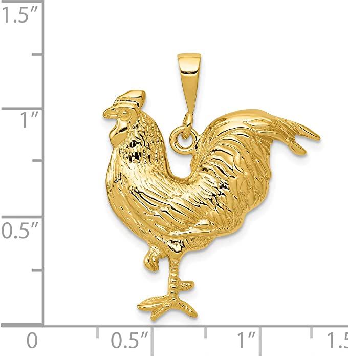 Sterling Silver Womens 1mm Box Chain 3D Mini Sitting French Hen Rooster Chicken Bird Pendant Necklace