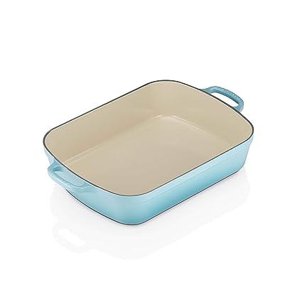 LE CREUSET - Bandeja Rectangular de Hierro colado esmaltado, 33 cm, Color Azul Caribe