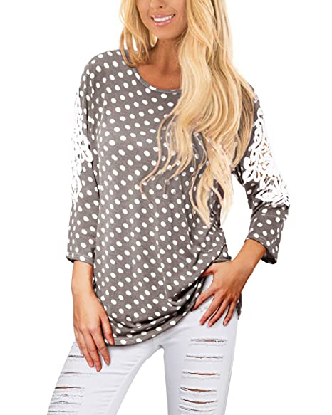ccb284b049d51f Image Unavailable. Image not available for. Color: JunJunBag Women's Casual  Tunic Top Polka Dot Half Sleeve Lace ...