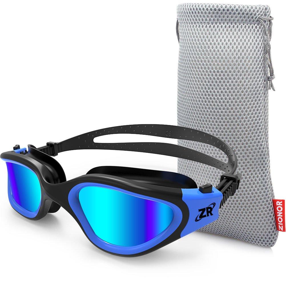 Gafas de natación, ZIONOR G1 Gafas de natación polarizadas con lente de espejo / humo Anti-niebla y Protección UV Estanco para Hombres Unisex Adulto Mujeres ...