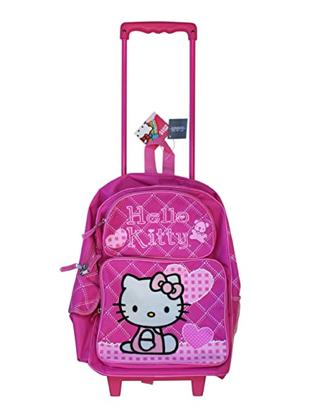 Pink Hearts Hello Kitty Rolling Backpack - Pink Hello Kitty Luggage with Wheels