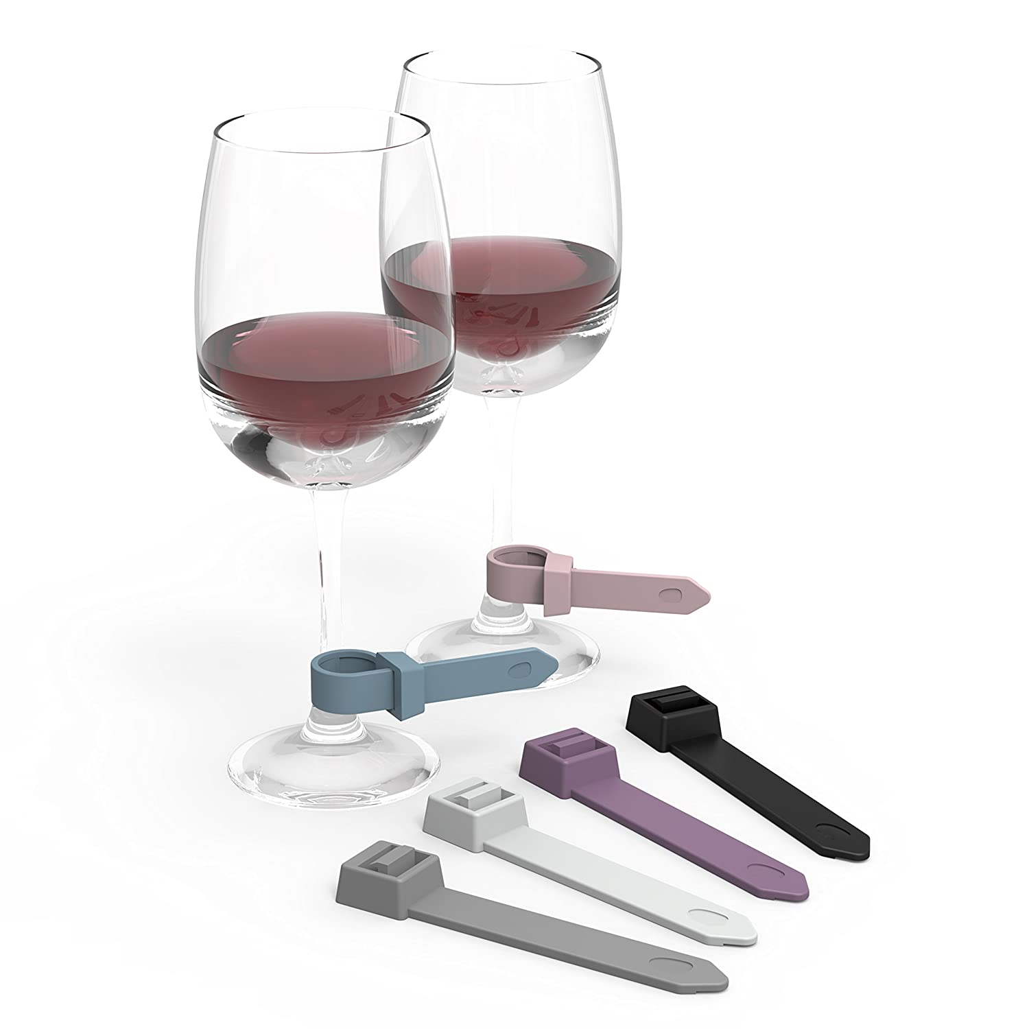 2-Pack Wine Glass Charms and Drink Markers in Elegant Ring & Chic Cable Tie Designs to Grip and Mark Wine Glasses and Stemware (12 Pc. Count) Home and AboveTM COMINHKPR145379