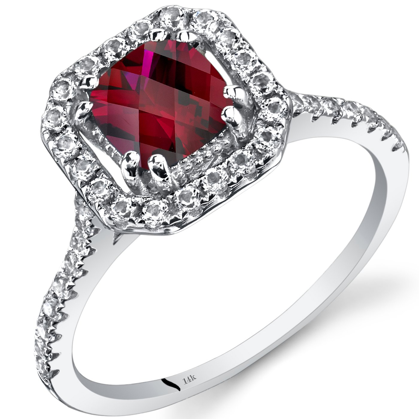 14K White Gold Created Ruby Cushion Cut Halo Ring 1.00 Carats Size 9