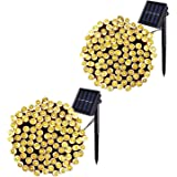 JMEXSUSS 2 Pack Solar String Light 100LED 42.7ft 8 Modes Solar Christmas Lights Waterproof for Gardens, Wedding, Party, Homes, Christmas Tree, Curtains, Outdoors(100LED-Warm White-2Pack)