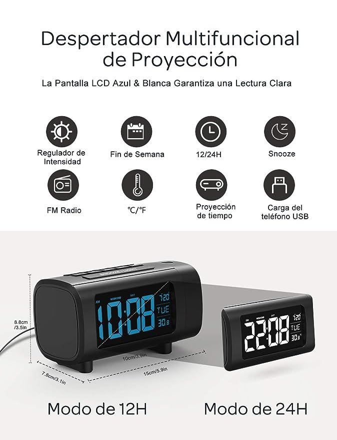 Mpow Reloj Despertador de Proyección, Radio Despertador, Reloj ...