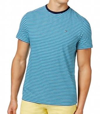 c3b71049 Tommy Hilfiger Mens Striped Crewneck Tee T-Shirt Blue XL: Amazon.co.uk:  Clothing