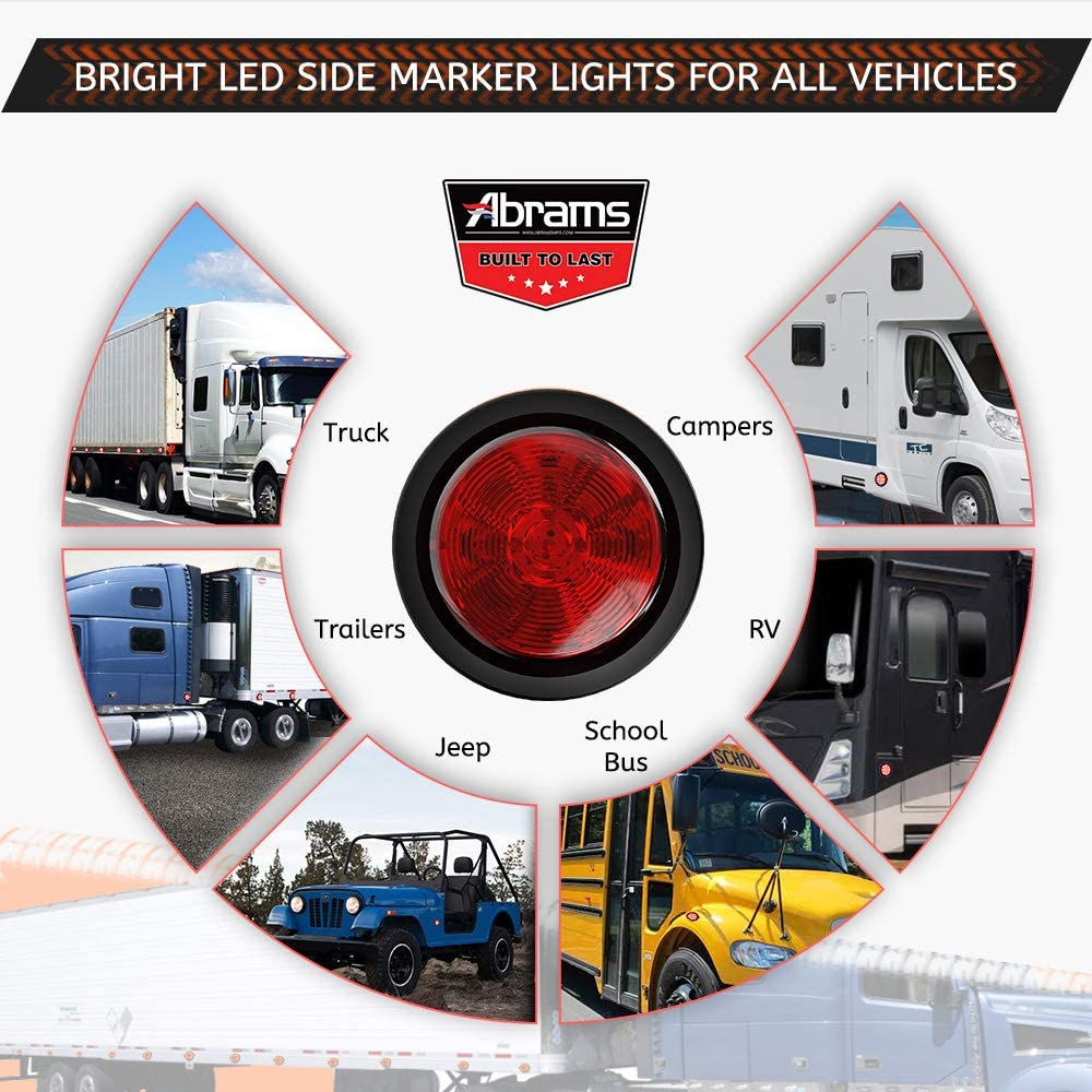 Round Clearance Light SAE//DOT Certified Abrams 2.5 Red 13 LED Side Marker Trailer Lights Waterproof IP67 Submersible 2 in 1 Reflector For Trucks /& Trailers 1 Pack Polycarbonate Reflector