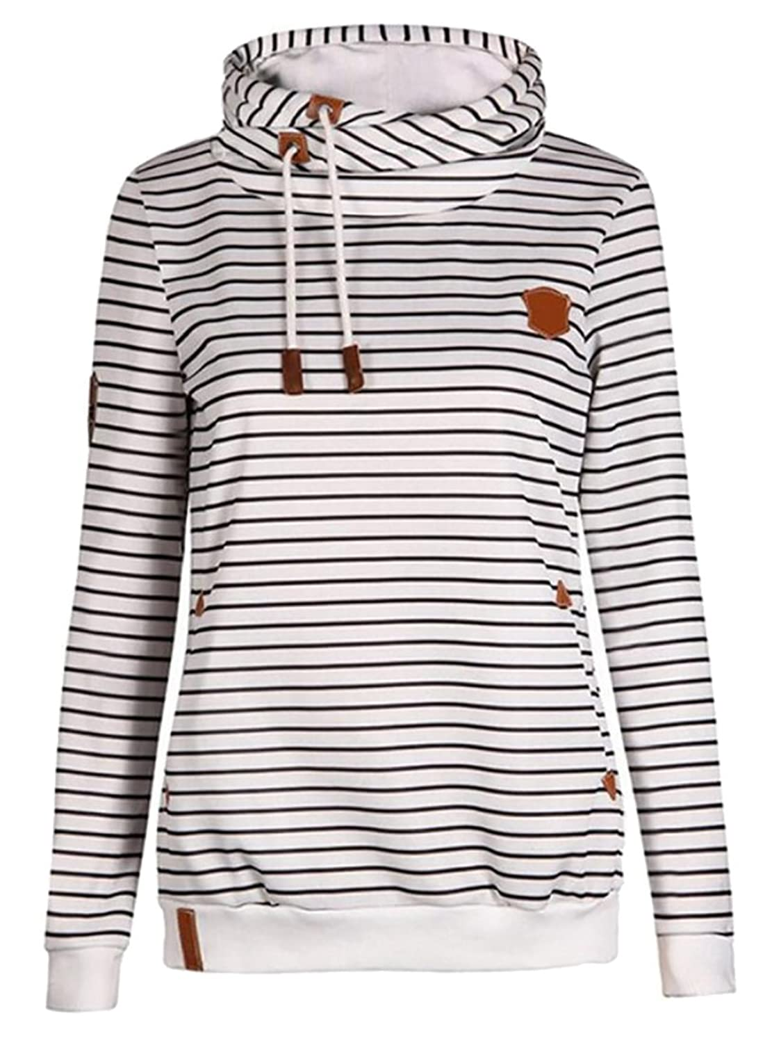 Wholesale Emastor Womens Double Hooded Cotton Stripe Sweatshirt Funnel Neck Banded Bottom Casual Pullover for cheap