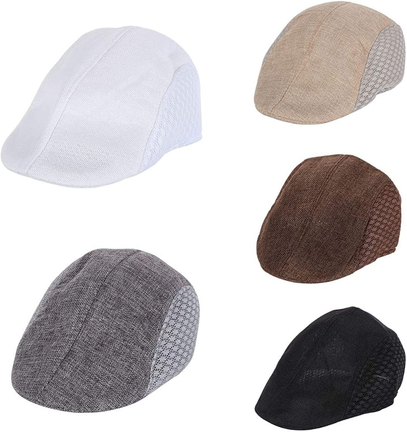 CHENTAI Fashion Mens Visors Duckbill Flat Hat Newsboy Style Hollow Cap Summer Driving