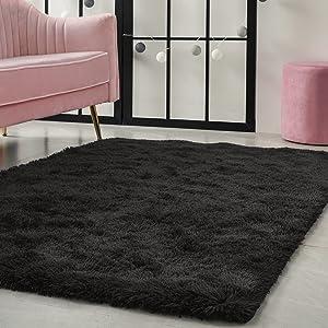 Fulie Ultra Soft Fluffy Area Rugs, Shag Plush Rug for Living Room, Furry Bedside Rug for Kids Bedroom, Furry Modern Indoor Home Decor Floor Carpet, 4 x 5.9 Feet Black