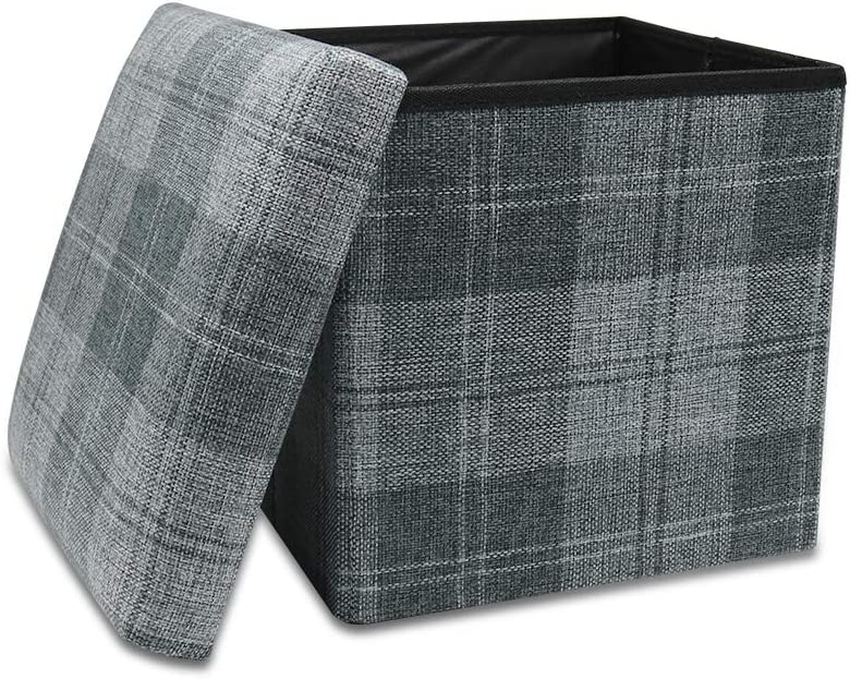 Storage Ottoman Cube Folding Ottomans with Storage Foot Rest Stool Seat Foldable Storage Boxes Square Toy Chest Padded Sofa Bed for Space Saving 30x30x30 cm, Grey Plaid …