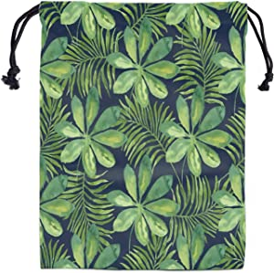 Tropical Leaf Gymnastics Grip Bags - Drawstring Storage Bag Gym Large Gymnast Grips Bag Dance Drawstring Bags for Girls Adjustable Light Lightweight Shoe Bags Laundry Pouch for Travel Daily Use