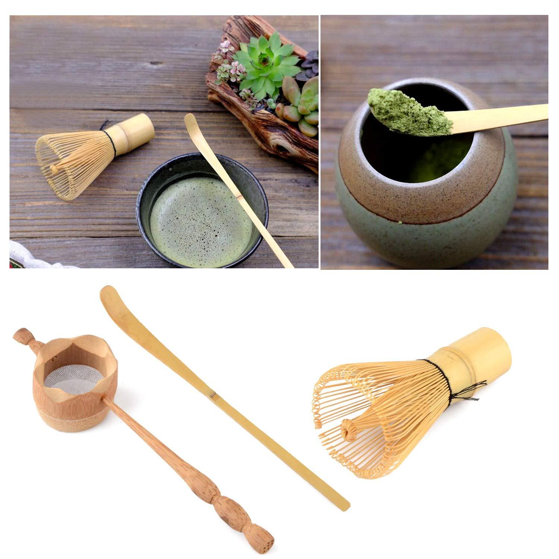 TOOGOO Colador de T/é de Bamb/ú Natural Cepillo de Batir Matcha Juego de Cucharada de Batidor de T/é Verde en Polvo Juego de Utensilios de T/é Accesorios de Cocina 3 Piezas