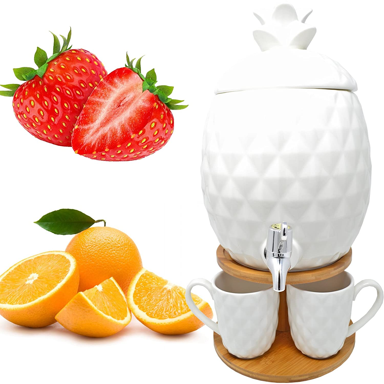 6PC PINEAPPLE DISPENSER DRINK WATER COCKTAIL TAP JUICE PUNCH PARTY GLASS MUG JAR DP