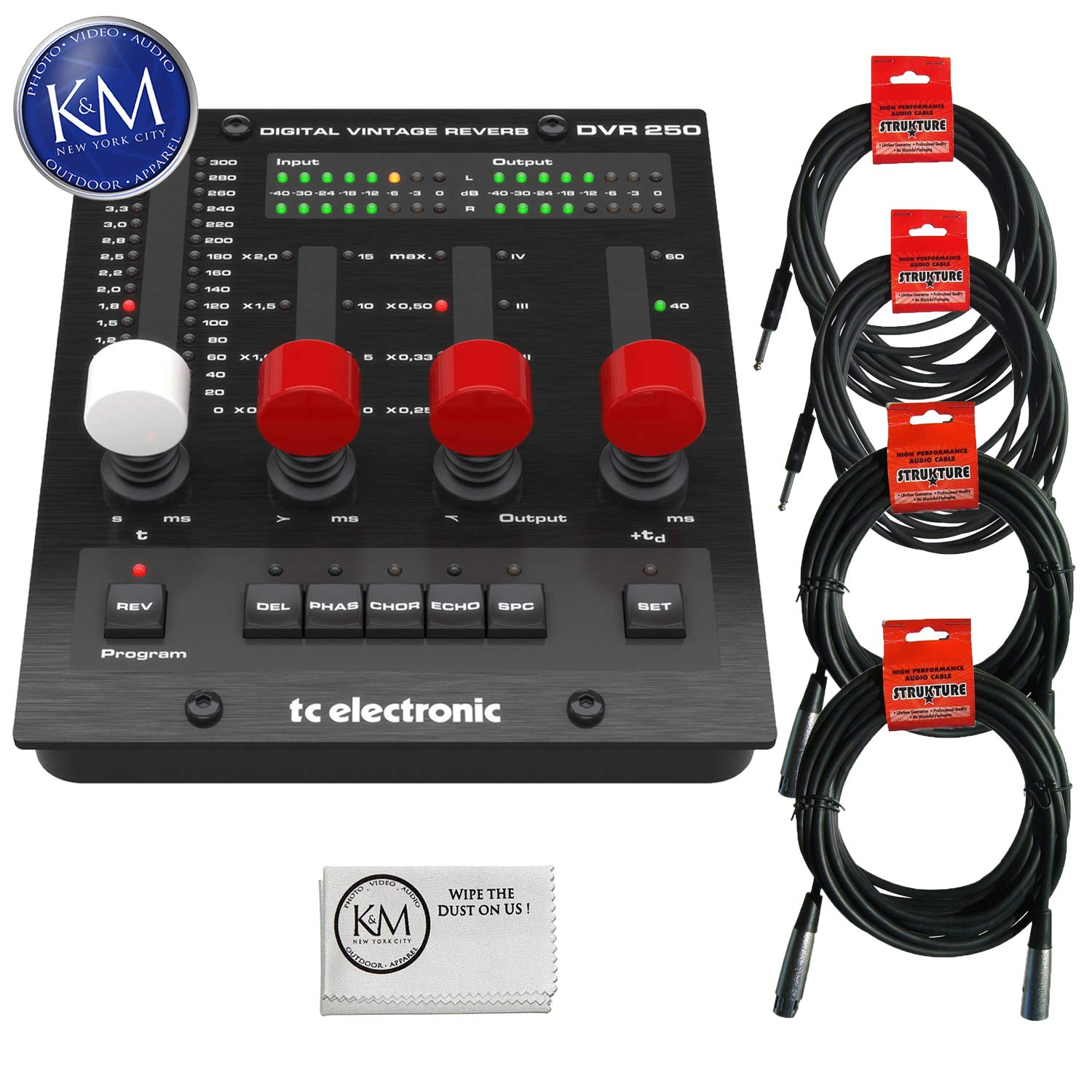 TC Electronic DVR250-DT Digital Vintage Reverb Effects Processor (Hardware Controller & Software) + (2) Instrument Cables + (2) XLR Cables + K&M Cloth Bundle