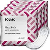 Amazon Brand - Solimo Maxi Pads, Super Absorbency, Unscented, 192 Count