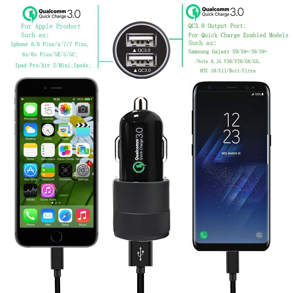 Quick Charge 3.0 Car Charger 40W Car Adapter with Dual QC USB Ports with 1-Pack 3.3ft Type C Cord for Samsung Galaxy Note 8 S9 S8 S8 Plus S7, iPhone X 8 8 Plus, iPad Pro 2017, Google Pixel and More by CovertSafe (Image #2)