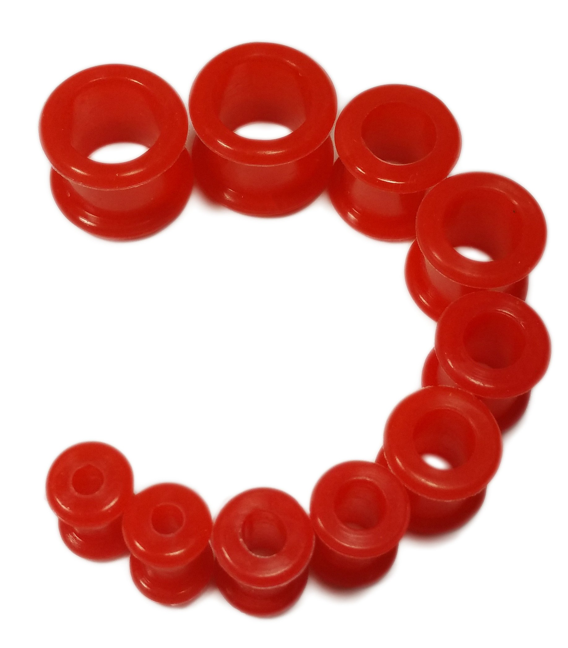 PAIR 12G-1/2'' Red Silicone Tunnels Plugs Guages (6g (4mm))