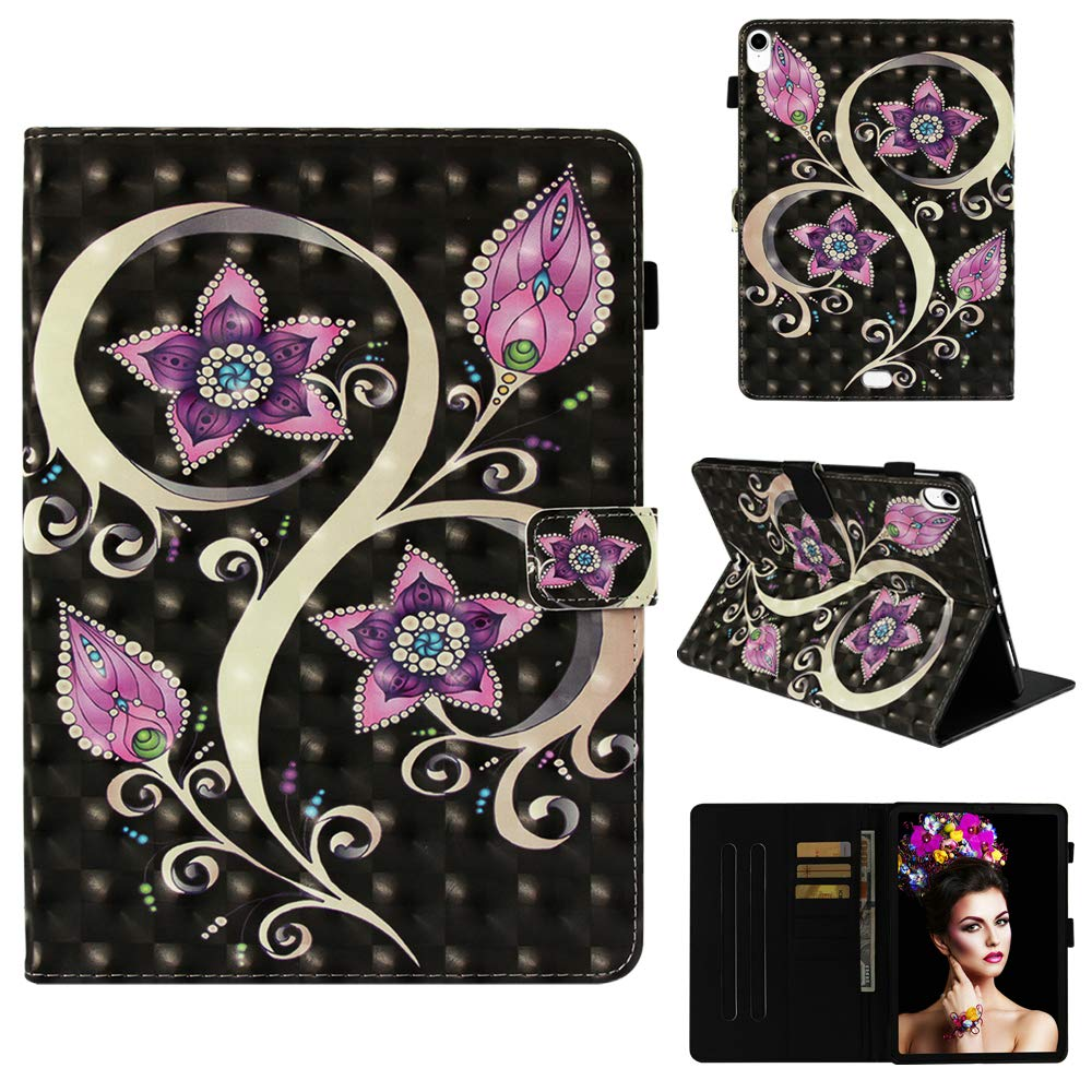 Cfrau Wallet Stand Case with Black Stylus for iPad Pro 11 Inch 2018,Creative Colorful 3D Print Smart Magnetic Flip PU Leather Card Slots Shockproof Soft Rubber Tablet Case,Retro Peacock Flower
